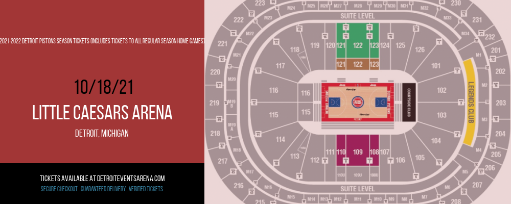 2021-2022 Detroit Pistons Season Tickets (Includes Tickets To All Regular Season Home Games) at Little Caesars Arena